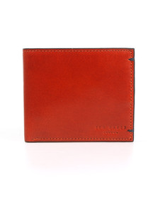 Ted Baker Mens Orange Aunat Bifold Contrast Leather Wallet
