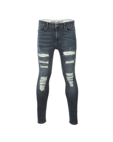 Eleven Degrees Mens Blue Distressed Super Skinny Jean