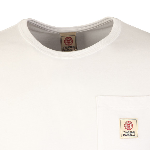 Franklin & Marshall Mens White Round Neck Jersey Pocket T-Shirt main image