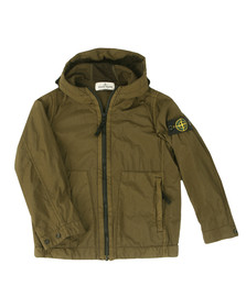 Stone Island Junior  Boys Green Lightweight Hooded Jacket