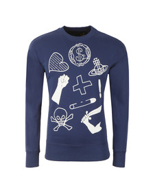Vivienne Westwood Anglomania Mens Blue News Logo Mix Sweatshirt
