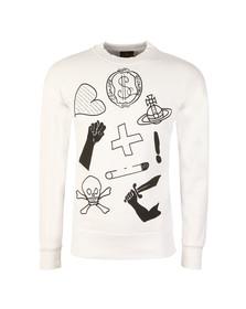 Vivienne Westwood Anglomania Mens White News Logo Mix Sweatshirt