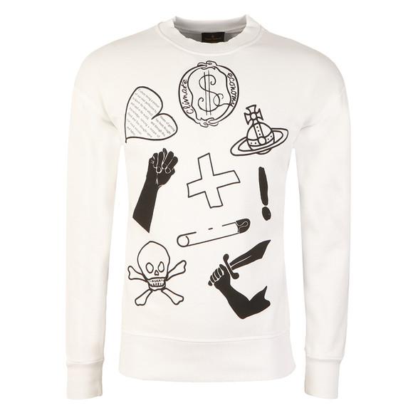 Vivienne Westwood Anglomania Mens White News Logo Mix Sweatshirt main image