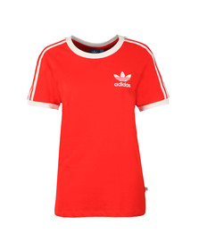 Adidas Originals Womens Red 3 Stripes Tee
