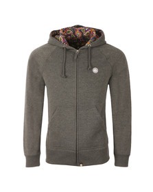 Pretty Green Mens Grey Raynham Paisley Lined Hoody