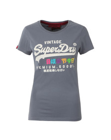 Superdry Womens Blue Premium Goods Rainbow Tee
