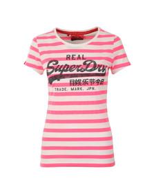 Superdry Womens Pink Vintage Logo Stripe Tee