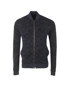 Pretty Green Mens Blue Naseby Paisley Zip Sweat