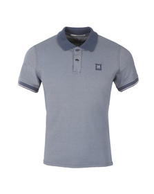 CP Company Mens Blue Slim Fit Contrast Collar Polo Shirt