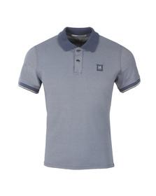 CP Company Mens Blue Slim Fit Contrast Collar Polo Shirt