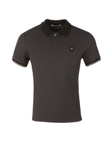 CP Company Mens Black Slim Fit Contrast Collar Polo Shirt
