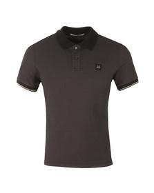 CP Company Mens Black Slim Fit Contrast Collar Polo Shirt
