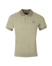 CP Company Mens Green Slim Fit Contrast Collar Polo Shirt