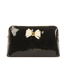 Ted Baker Womens Black Abbie Curved Bow Large Wash Bag