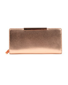 Ted Baker Womens Pink Darrah Crosshatch Textured Bar Zip Matinee Purse