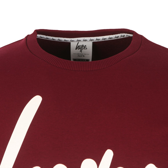 Hype Mens Red Script Crew Neck Sweatshirt main image