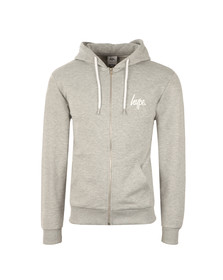 Hype Mens Grey Chest Script Logo Zip Hoody
