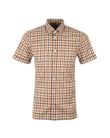 Aquascutum Mens Brown Emsworth Club Check SS Shirt