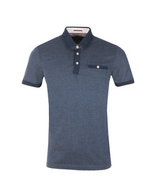 Ted Baker Mens Blue Otto SS Flat Knit Collar Jacq Polo