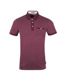 Ted Baker Mens Purple Otto SS Flat Knit Collar Jacq Polo