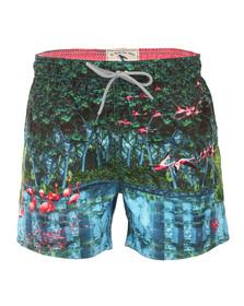 Ted Baker Mens Green Mindoe Flamingo Print Swim Short