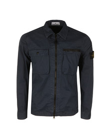 Stone Island Mens Blue Full Zip Overshirt