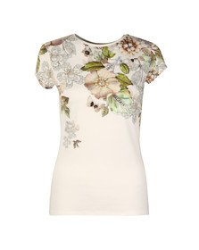 Ted Baker Womens Off-white Veeni Gem Gardens Fitted Tee