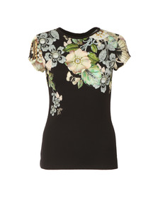 Ted Baker Womens Black Veeni Gem Gardens Fitted Tee