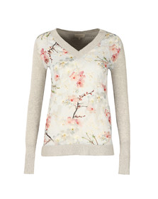 Ted Baker Womens Grey Crimsie Blossom Jacquard Jumper