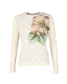 Ted Baker Womens Off-white Belie Gem Gardens Woven Front Jumper