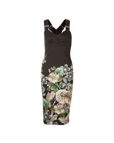 Ted Baker Womens Black Jayer Gem Gardens Bodycon Dress