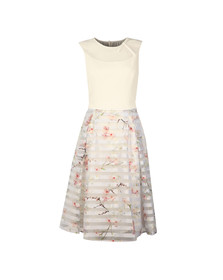 Ted Baker Womens Grey Monah Oriental Blossom Contrast Dress