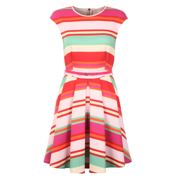 Ted Baker Womens Pink Mayya Pier Stripe Skater Dress main image