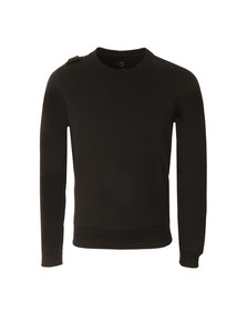 Ma.Strum Mens Black Hobart Pouch Pocket Crew Sweatshirt