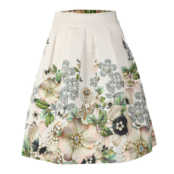Ted Baker Womens Off-white Miolla Gem Garden Bow Back Skirt main image