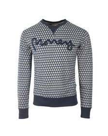Money Mens Blue George AOP Crew Sweatshirt