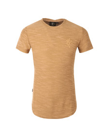 Gym king Mens Beige Curve Hem Slub Knit Tee