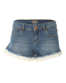 Superdry Womens Blue Lace Hot Short