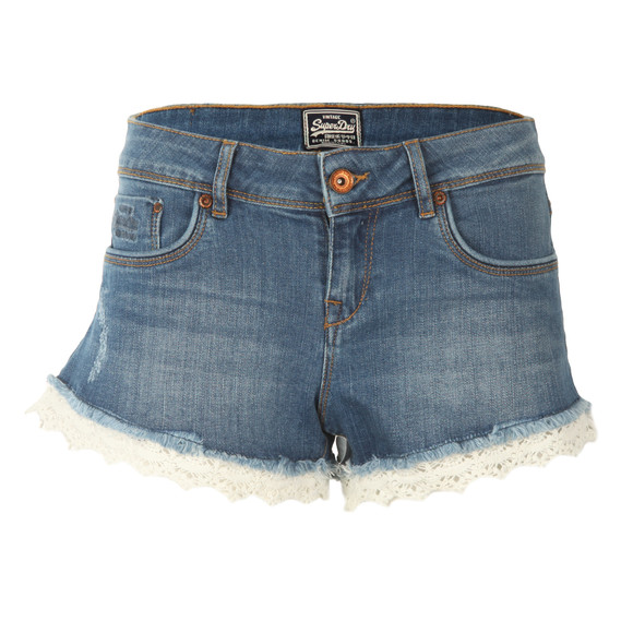 Superdry Womens Blue Lace Hot Short main image