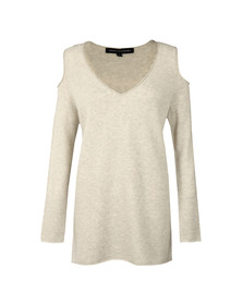 French Connection Womens Grey Venture Vhari Cold Shoulder Jumper