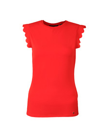 Ted Baker Womens Orange Scallop Detail Fitted Tee