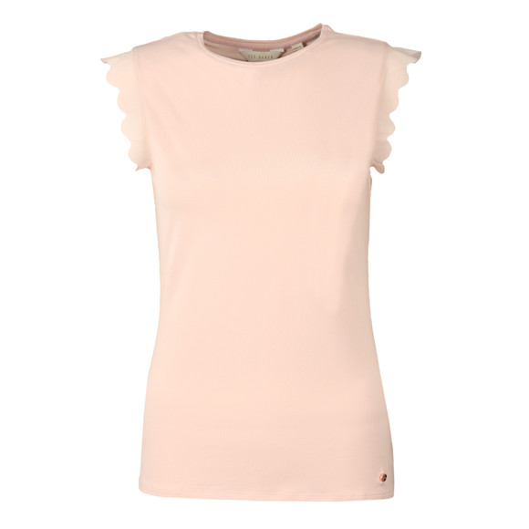 Ted Baker Womens Pink Scallop Detail Fitted Tee main image