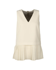 Ted Baker Womens Off-White Oriya Pleat Hem V Neck Top