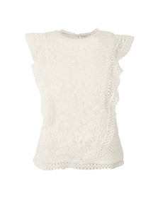 Ted Baker Womens White Zania Ruffle Mixed Lace Top