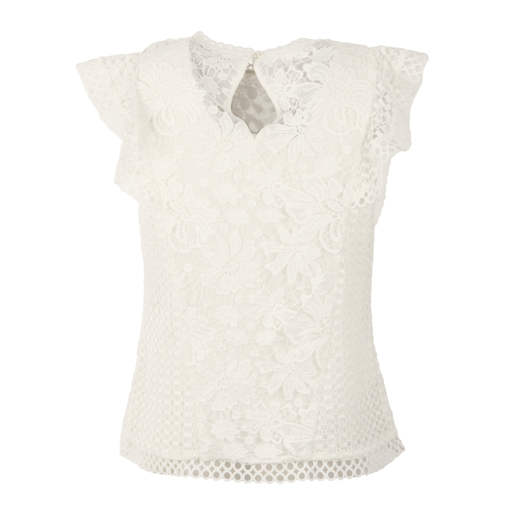 Zania Ruffle Mixed Lace Top main image
