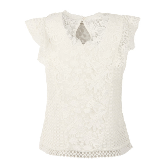 Ted Baker Womens White Zania Ruffle Mixed Lace Top main image
