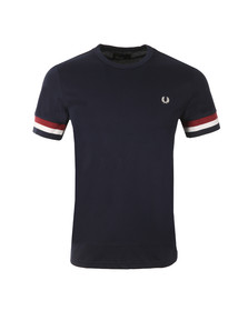 Fred Perry Mens Blue M1533 Stripe Cuff T-Shirt