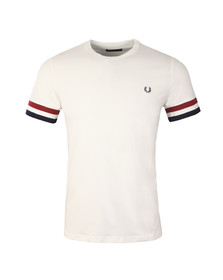 Fred Perry Mens White M1533 Stripe Cuff T-Shirt