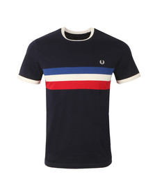 Fred Perry Mens Blue Striped Panel T-Shirt