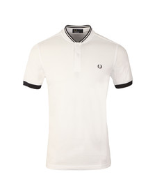 Fred Perry Mens White Bomber Collar Polo Shirt
